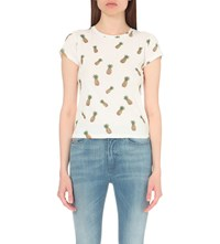 Alice Olivia And Robin Cotton Jersey T Shirt Allover Pineapples