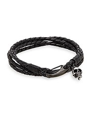 Jan Leslie Braided Leather Wrap Bracelet No Color