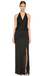 Donna Karan Sleeveless Plunge V Halter Gown Black
