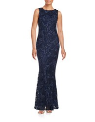 Calvin Klein Embroidered Lace Trumpet Gown Navy