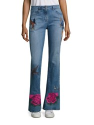 3X1 Embroidered Flared Leg Jeans Emi Blue