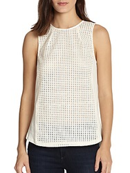 Autograph Addison Mixed Media Perforated Paneled Top White