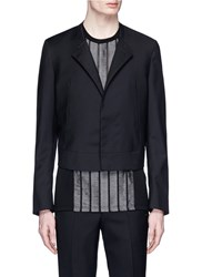 Lanvin Felted Stitch Collar Cropped Wool Blazer Black