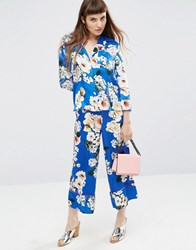 Asos Satin Floral Print Co Ord Wide Leg Trousers Multi