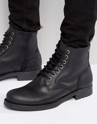 Jack And Jones Sting Leather Boots Black