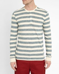 Minimum White And Blue Colley Striped Grandad Collar T Shirt
