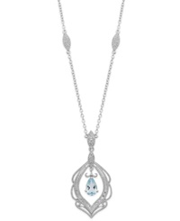 Macy's Aquamarine 3 4 Ct. T.W. And Diamond 1 6 Ct. T.W. Pendant Necklace In Sterling Silver