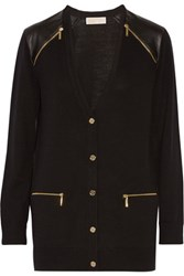 Michael Michael Kors Faux Leather Trimmed Wool Cardigan Black