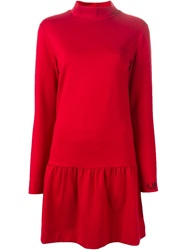 Love Moschino Turtleneck Smock Dress Red