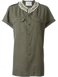 Forte Couture 'Honour' Embellished Collar Button Down Shirt Green