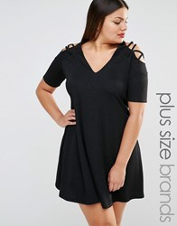 Pink Clove Lattice Detail Cold Shoulder Swing Dress Black