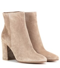 Gianvito Rossi Rolling 85 Suede Ankle Boots Beige