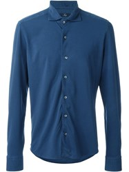 Fay 'Piquet' Fitted Button Down Shirt Blue