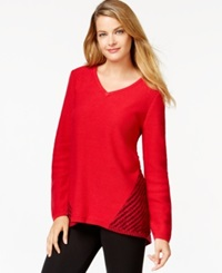 Style And Co. Petite Contrast Knit V Neck Sweater Only At Macy's New Red Amore Black