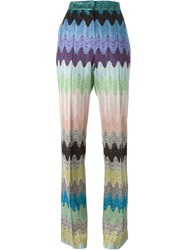 Missoni Signature Zig Zag Knit Trousers Multicolour