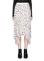 Helmut Lang Ribbon Print Pleated Silk Handkerchief Skirt White Multi Colour