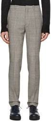 Jil Sander Black And White Wool Glen Plaid Trousers