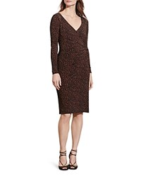 Ralph Lauren Printed Crossover Dress Carmel Black