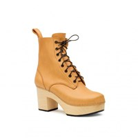 Swedish Hasbeens Lace Up Plateau Boots Beige