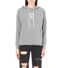 Stussy Logo Print Jersey Hoody Grey Heather