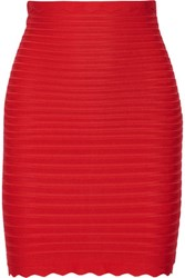 Herve Leger Scalloped Bandage Mini Skirt Tomato Red