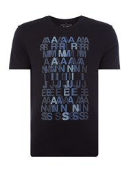 Armani Jeans Regular Fit Blurred Letter Printed T Shirt Blue