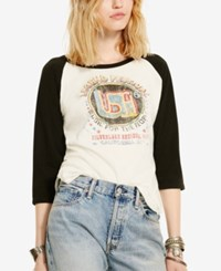 Denim And Supply Ralph Lauren Raglan Graphic Print T Shirt White