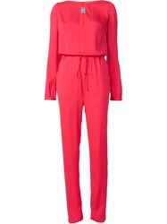 Monique Lhuillier Neck Slit Jumpsuit Red