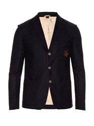 Gucci Hummingbird Applique Cashmere Twill Blazer Navy Multi
