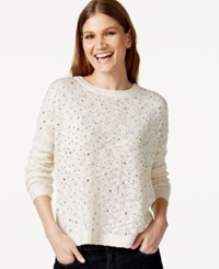 Inc International Concepts Studded Crew Neck Sweater Only At Macy's Buttercream