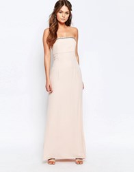 Elise Ryan Bandeau Maxi Dress With Embellished Trim Pink
