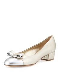 Salvatore Ferragamo Vara Metallic Leather Ballerina Pump Metallic Gray