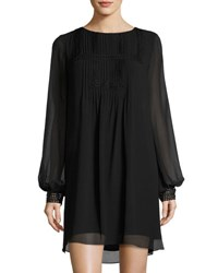 Max Studio Pleated Yoke Long Sleeve Shift Dress Black