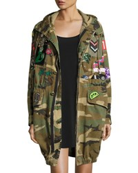 Marc Jacobs Patch Embellished Camo Anorak Coat Green