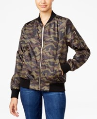 Say What Juniors' Camo Print Bomber Jacket