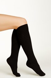 Shimera Cable Knee High Socks Black