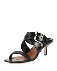 Donald J Pliner Mora Buckle Kitten Heel Slide Sandal Black Women's