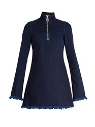Marques Almeida High Neck Frayed Edge Denim Mini Dress Indigo