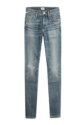Citizens Of Humanity Distressed Ankle Length Slim Jeans Blue