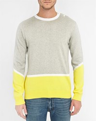 Commune De Paris Grey Yellow Opera Buttoned Collar Sweater