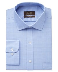 Tasso Elba Men's Classic Fit Non Iron True Blue Glen Plaid Dress Shirt Only At Macy's