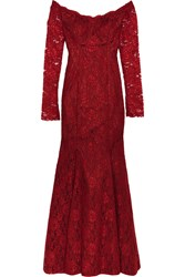 Mikael Aghal Off The Shoulder Lace Gown Red