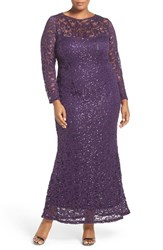 Marina Plus Size Women's Illusion Yoke And Long Sleeve Lace Gown Eggplant