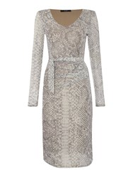 Oui Snakeskin Print Mesh Ruched Long Sleeve Dress Grey