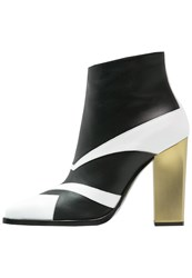 Pollini High Heeled Ankle Boots Black White