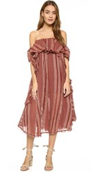Free People Hooked On A Feeling Midi Dress Red Combo