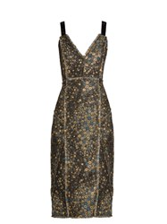 Erdem Elissa Star Jacquard Dress Gold Multi