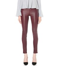 Theory Adbelle Skinny Leather Trousers Garnet