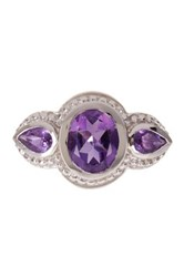Olivia Leone Sterling Silver Oval And Pear Cut Amethyst Ring Purple