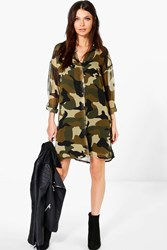 Boohoo Camo Print Shirt Dress Multi